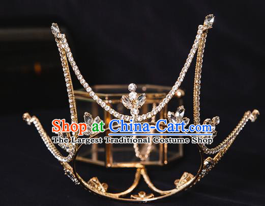Handmade Wedding Baroque Round Crystal Royal Crown Princess Bride Hair Accessories for Women