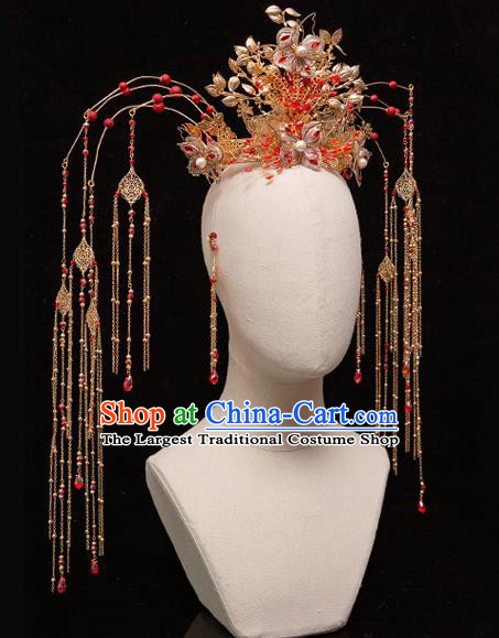 Chinese Ancient Bride Palace Phoenix Coronet Tassel Hairpins Traditional Wedding Xiu He Hair Accessories Complete Set for Women
