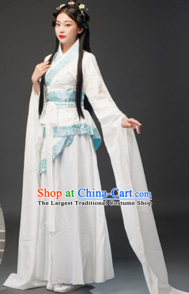 Chinese Traditional Court Lady Diao Chan Classical Dance White Dress Ancient Drama Goddess Costumes for Women
