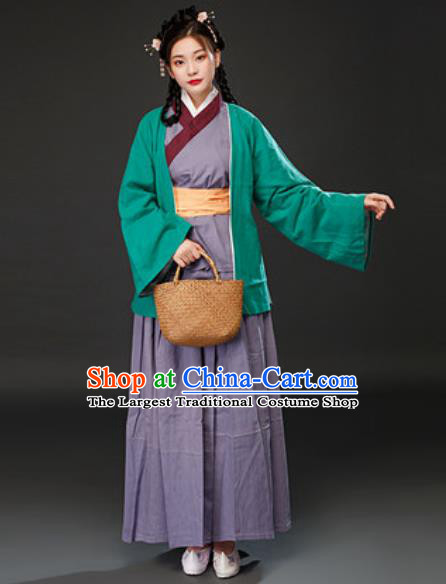 Chinese Traditional Ming Dynasty Maidservant Dress Ancient Drama Female Civilian Costumes for Women