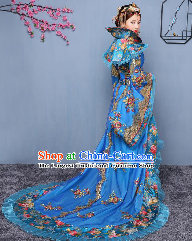 Chinese Ancient Tang Dynasty Imperial Consort Blue Dress Traditional Hanfu Goddess Classical Dance Costumes for Women