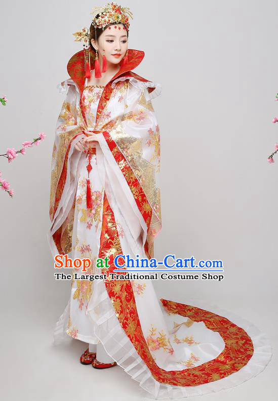 Chinese Ancient Tang Dynasty Imperial Consort White Dress Traditional Hanfu Goddess Classical Dance Costumes for Women