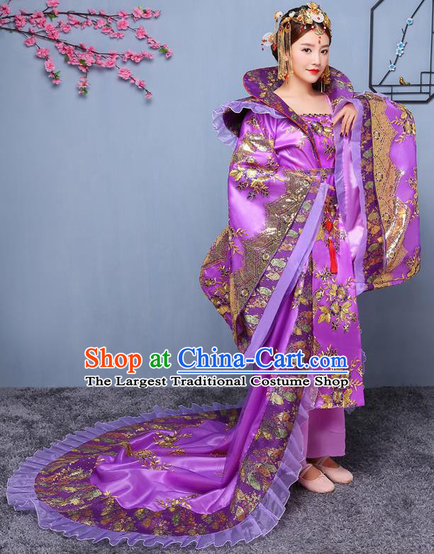 Chinese Ancient Tang Dynasty Imperial Consort Purple Dress Traditional Hanfu Goddess Classical Dance Costumes for Women