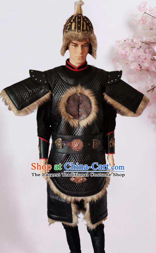 Chinese Ancient Yuan Dynasty General Body Armour Traditional Ancient Soldier Costumes and Hat for Men