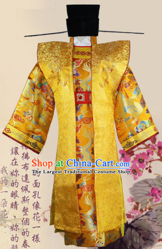 Chinese Ancient Song Dynasty Emperor Clothing Traditional Ancient Imperator Costumes and Hat for Men