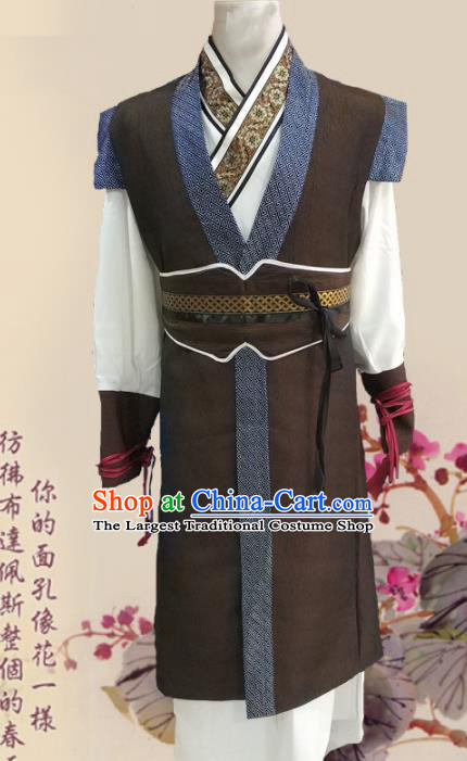 Chinese Ancient Han Dynasty Civilian Clothing Traditional Ancient Swordsman Costumes for Men