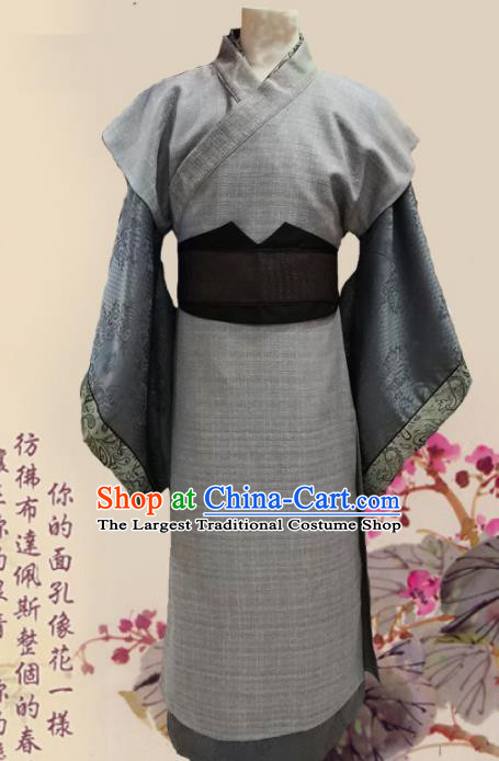 Chinese Ancient Han Dynasty Ministry Councillor Clothing Traditional Ancient Swordsman Costumes for Men