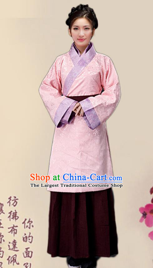 Chinese Ancient Song Dynasty Female Civilian Pink Dress Traditional Hanfu Farmerette Costumes for Women