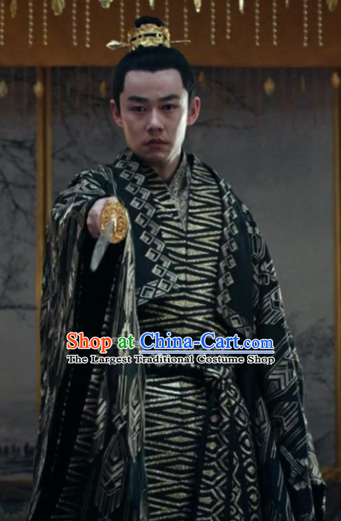 Chinese Ancient Emperor of Yin Empire Historical Drama Novoland Eagle Flag Bai Luyan Replica Costumes and Headpiece for Men