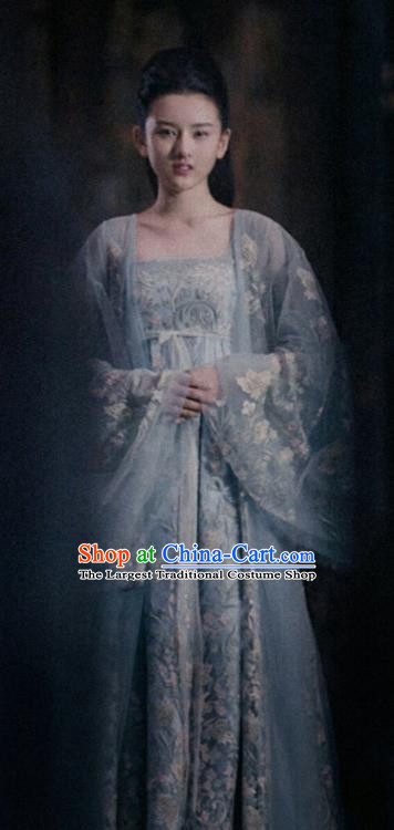 Chinese Ancient Princess of the Winged Tribe Yu Ran Drama Novoland Eagle Flag Replica Costumes and Headpiece for Women