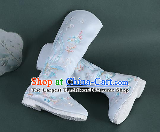 Chinese Handmade Winter Embroidered Blue High Boots Traditional Hanfu Shoes National Shoes for Women