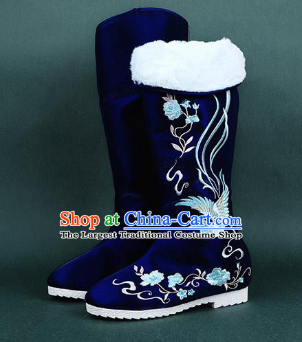 Chinese Handmade Winter Embroidered Royalblue High Boots Traditional Hanfu Shoes National Shoes for Women