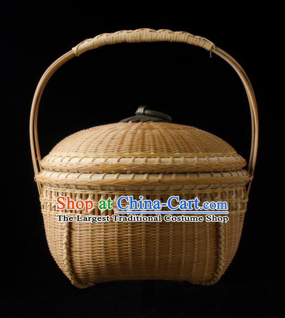 Chinese Handmade Bamboo Weaving Basket Traditional Food Cabas