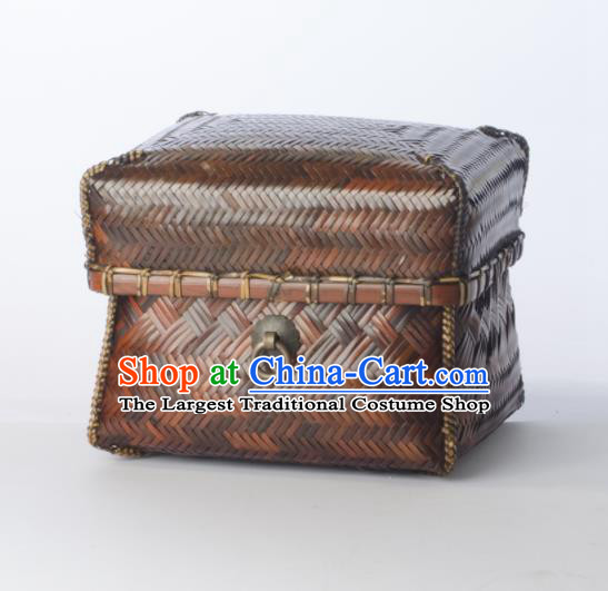 Chinese Handmade Bamboo Weaving Basket Traditional Storage Box