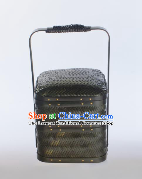 Chinese Handmade Bamboo Weaving Black Basket Traditional Food Box