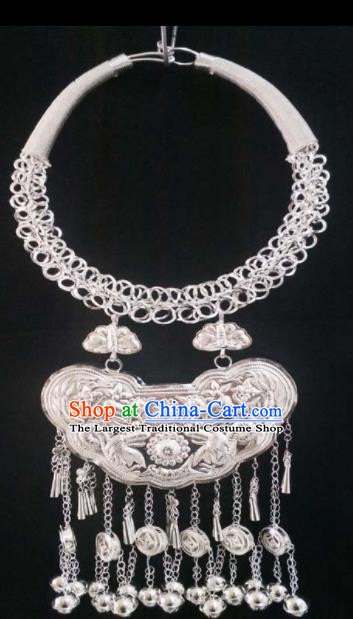 Chinese Handmade Traditional Miao Nationality Luxury Sliver Necklace Ethnic Wedding Bride Accessories for Women