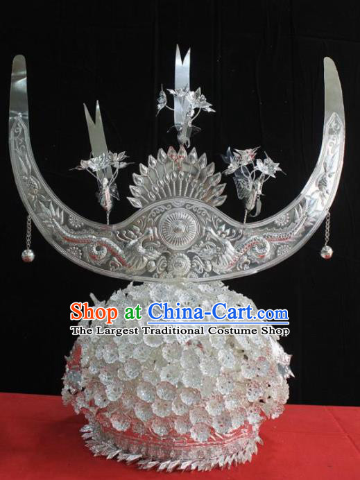 Chinese Traditional Handmade Miao Nationality Bride Hair Crown Hairpins Ethnic Wedding Hair Accessories for Women