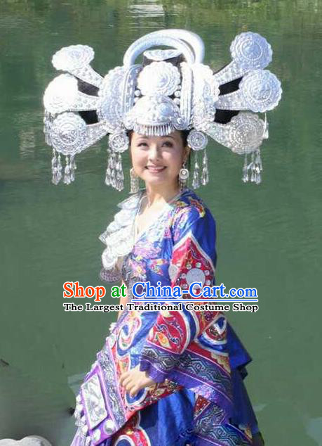 Chinese Traditional Handmade Miao Nationality Bride Hair Crown Silver Hairpins Ethnic Wedding Hair Accessories for Women
