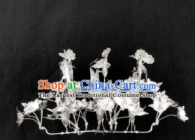 Chinese Traditional Handmade Miao Nationality Hair Crown Silver Hairpins Ethnic Wedding Hair Accessories for Women