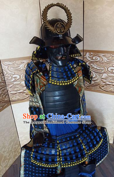 Japanese Handmade Traditional Samurai Blue Body Armor and Helmet Ancient Warrior Costumes for Men