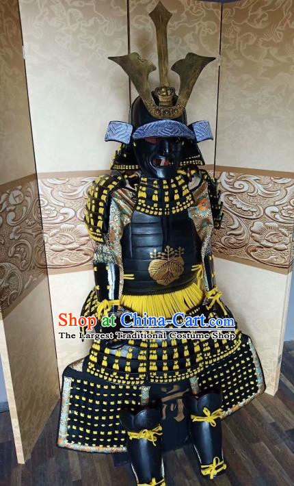 Japanese Handmade Traditional Samurai Black Body Armor and Helmet Ancient Warrior Costumes for Men