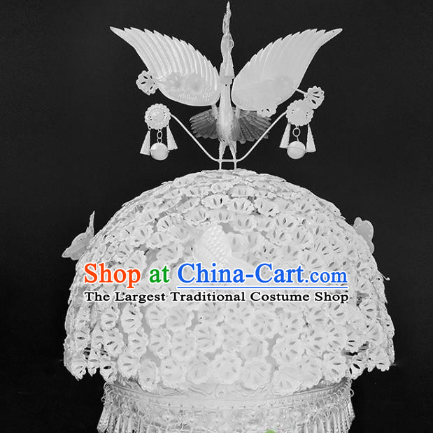 Chinese Traditional Handmade Miao Nationality Silver Phoenix Hair Crown Ethnic Wedding Hat Hair Accessories for Women
