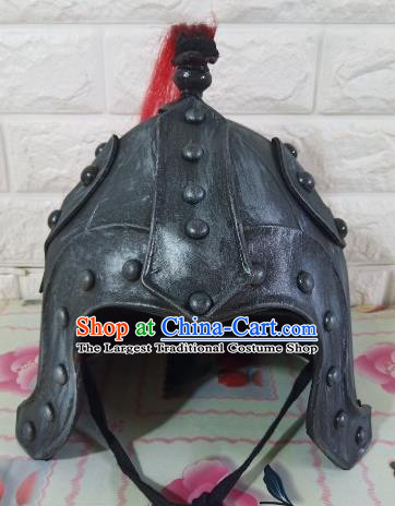 Chinese Handmade Traditional Han Dynasty Helmet Ancient General Hat for Men