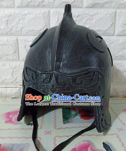 Chinese Handmade Traditional Han Dynasty Soldier Helmet Ancient General Hat for Men