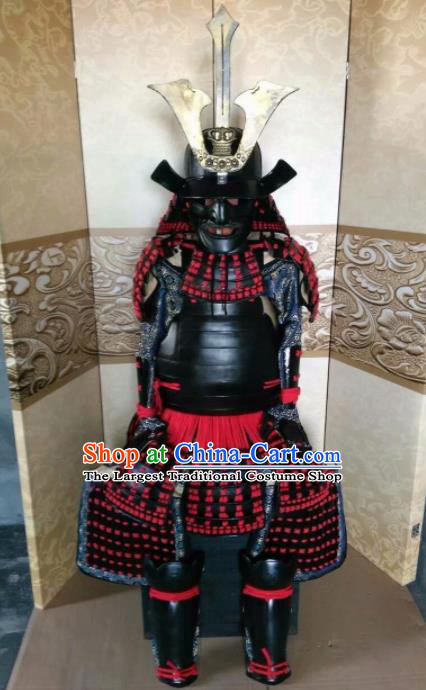 Japanese Handmade Traditional Samurai Red Tassel Body Armor and Helmet Ancient Warrior Costumes for Men