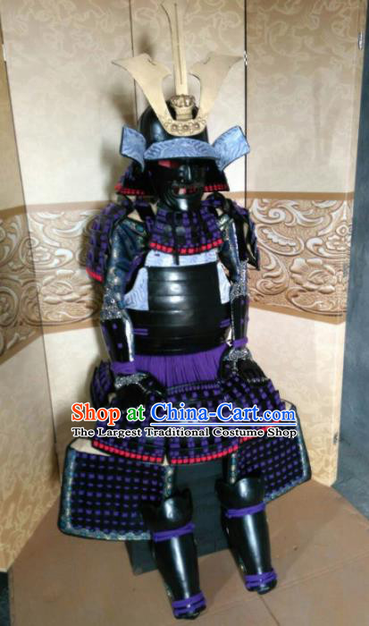 Japanese Handmade Traditional Samurai Purple Tassel Body Armor and Helmet Ancient Warrior Costumes for Men