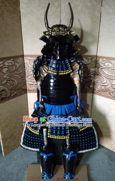 Japanese Handmade Traditional Samurai Blue Tassel Body Armor and Helmet Ancient Warrior Costumes for Men