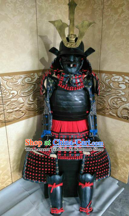 Japanese Handmade Traditional Samurai General Red Body Armor and Helmet Ancient Warrior Replica Costumes for Men