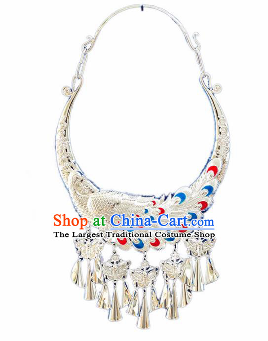 Chinese Handmade Traditional Miao Nationality Sliver Carving Peacock Necklace Ethnic Wedding Bride Accessories for Women