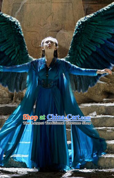 Chinese Ancient Princess of the Winged Tribe Yu Ran Blue Dress Drama Novoland Eagle Flag Replica Costumes and Headpiece for Women