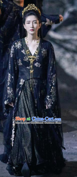 Chinese Ancient Princess Gong Yuyi Drama Novoland Eagle Flag Jiang Shuying Replica Costumes and Headpiece for Women