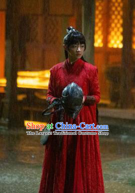 Chinese Ancient Princess Ying Yu Red Dress Drama Novoland Eagle Flag Swordswoman Replica Costumes and Headpiece for Women
