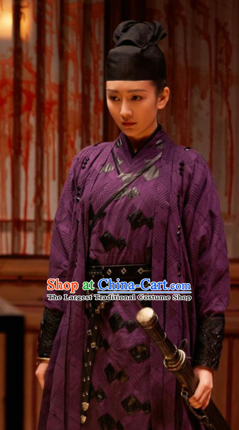 Chinese Ancient Female Swordsman Su Shunqing Purple Dress Drama Novoland Eagle Flag Wang Ou Replica Costumes and Hat for Women