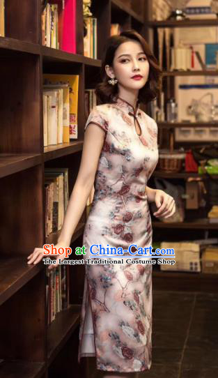 Chinese Traditional Qipao Dress Bride Printing Roses Pink Cheongsam National Costumes for Women