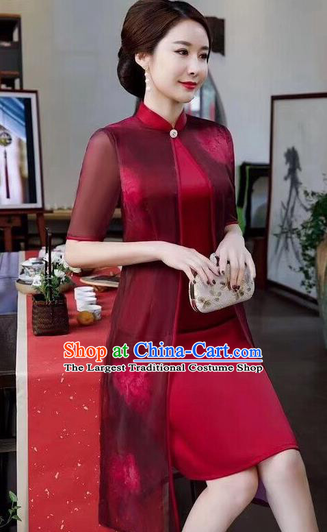 Chinese Traditional Qipao Dress Bride Mother Wine Red Cheongsam National Costumes for Women