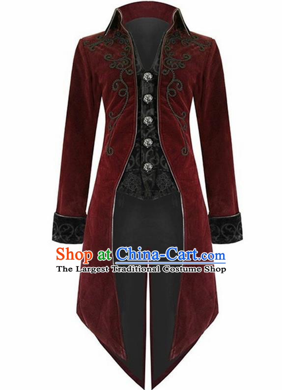 European Medieval Traditional Costume Europe Swallowtail Red Jacket for Men