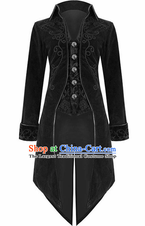 European Medieval Traditional Costume Europe Swallowtail Black Jacket for Men