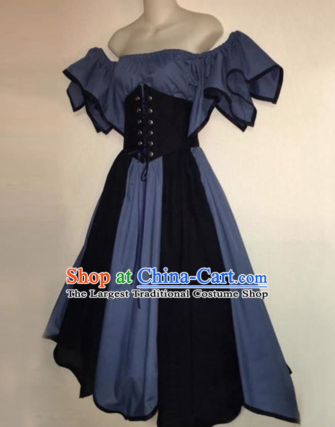 European Medieval Traditional Costume Europe Renaissance Drama Stage Performance Blue Dress for Women
