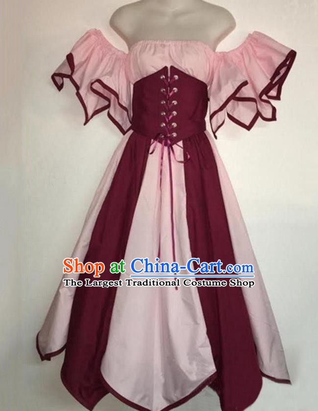 European Medieval Traditional Costume Europe Renaissance Drama Stage Performance Pink Dress for Women