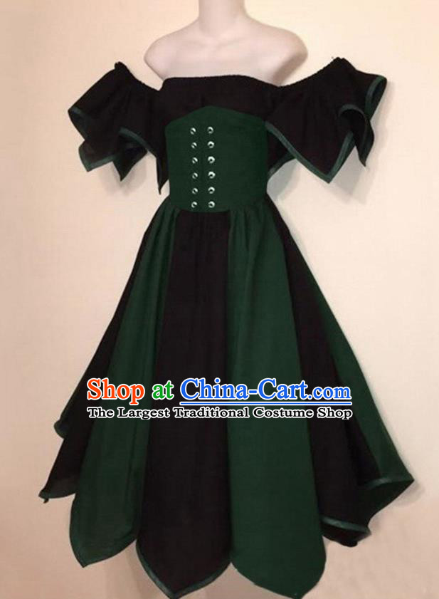 European Medieval Traditional Costume Europe Renaissance Drama Stage Performance Deep Green Dress for Women