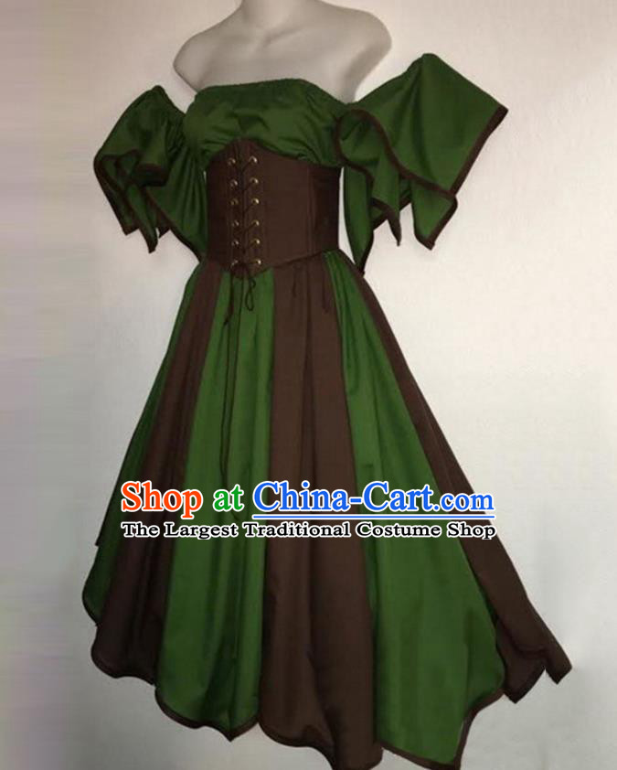 European Medieval Traditional Costume Europe Renaissance Drama Stage Performance Green Dress for Women