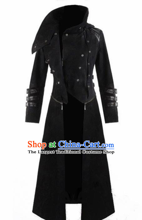 European Medieval Traditional Costume Europe Court Black Coat for Men