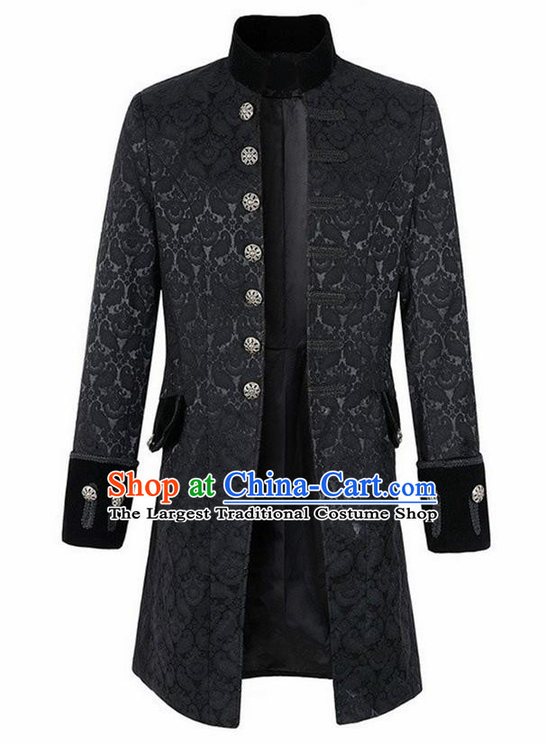 European Medieval Traditional Patrician Costume Europe Prince Black Coat for Men