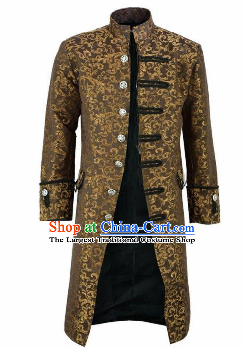 European Medieval Traditional Patrician Costume Europe Court Prince Ginger Coat for Men