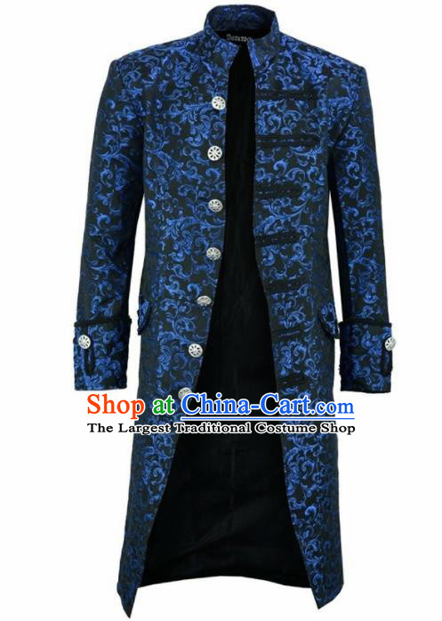 European Medieval Traditional Patrician Costume Europe Court Prince Blue Coat for Men