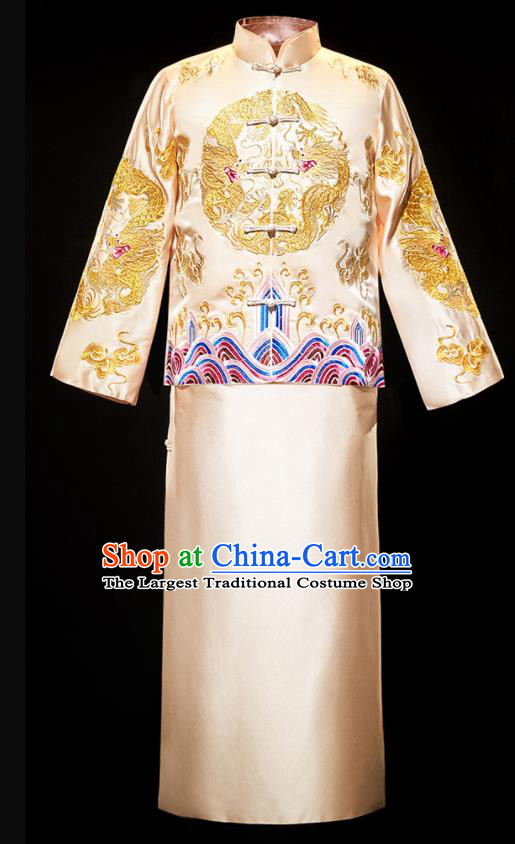 Chinese Traditional Bridegroom Wedding Costumes Tang Suit Golden Mandarin Jacket and Long Gown for Men